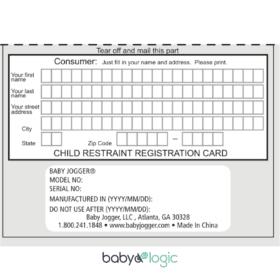 registration ticket for baby jogger