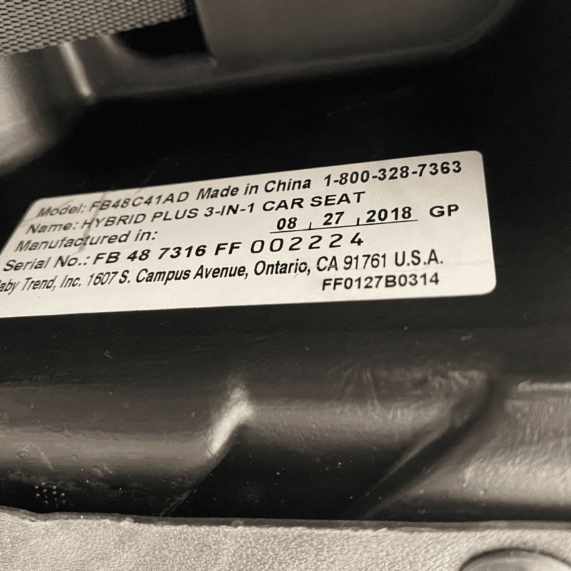 location of expiration date baby trend booster seat