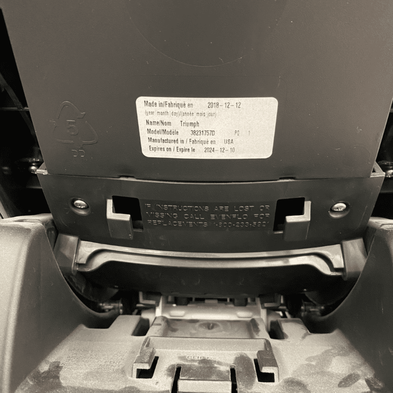location of expiration date evenflo booster seat
