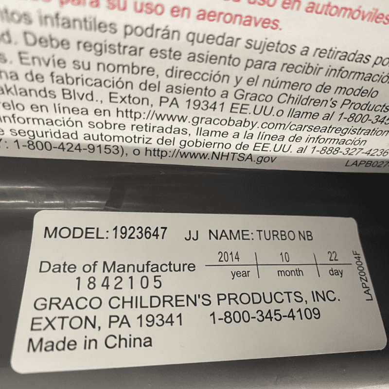 location of expiration date graco convertible seat